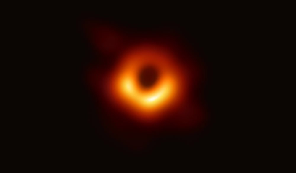 an orange ring against a black background