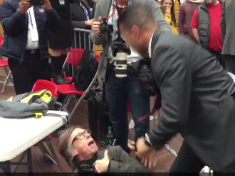 Secret Service Agent Choke Slams Photojournalist During Trump Rally