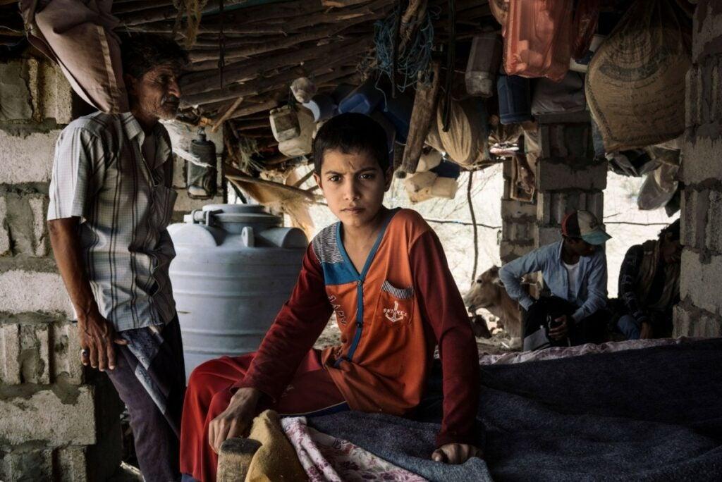 children and older man in Yemen
