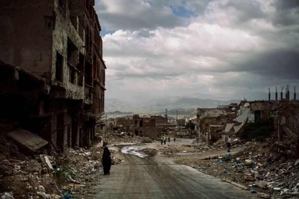 destroyed ruins along roads of Yemen