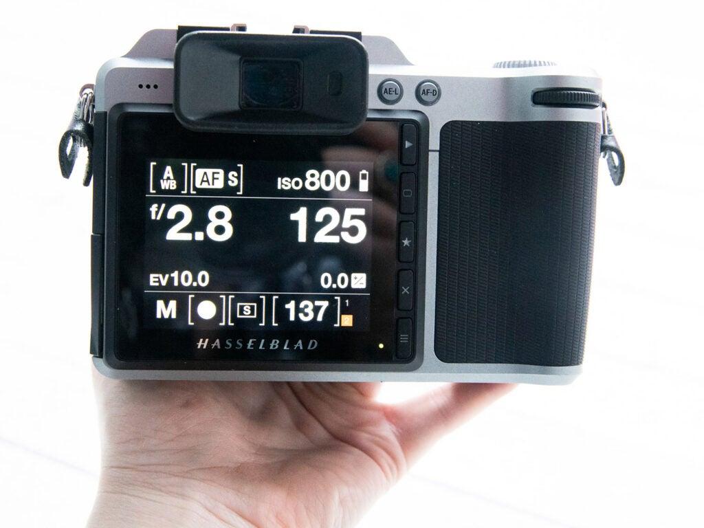 Hasselblad X1D camera screen view