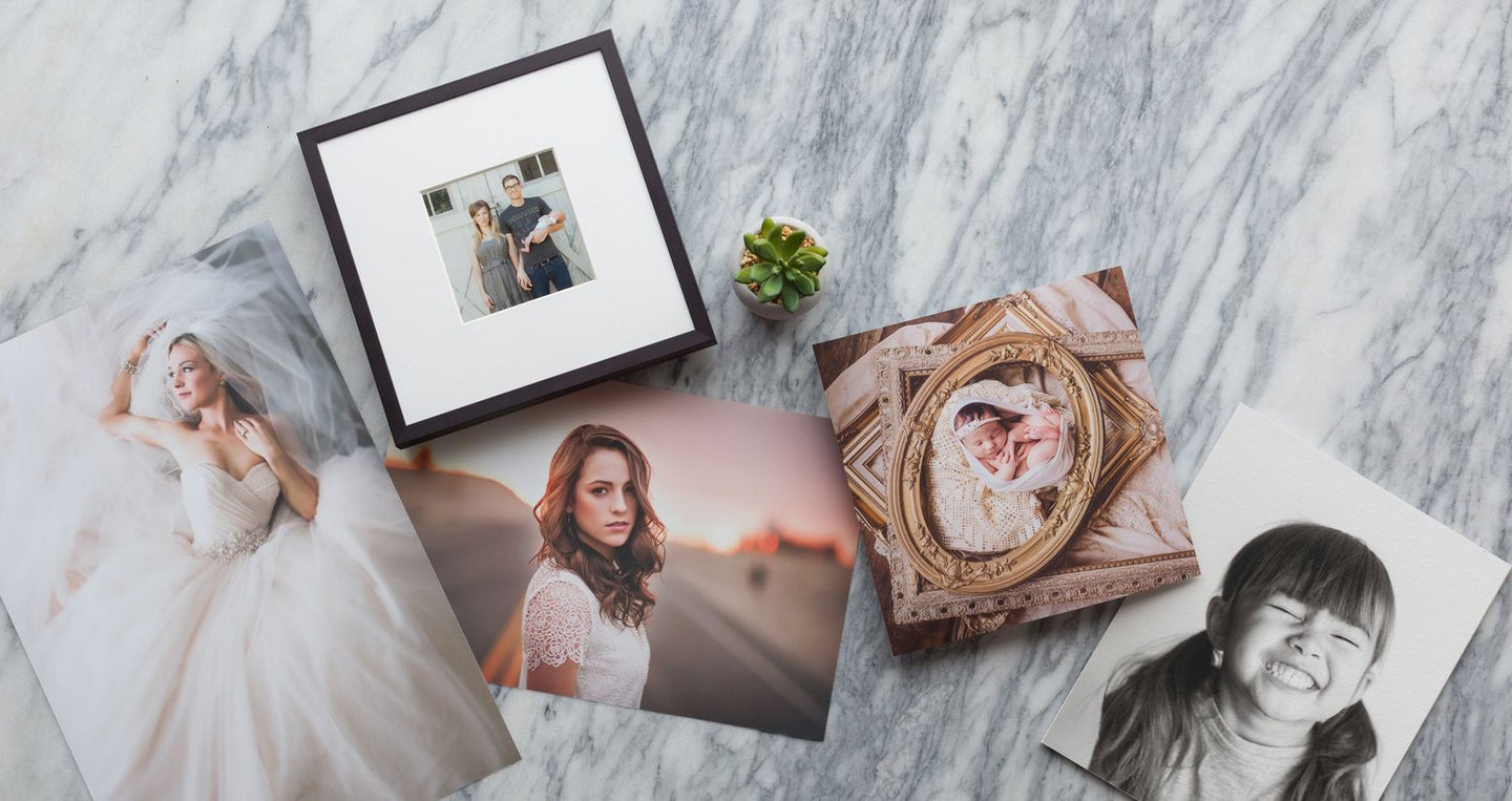 digital photographs on marble countertop