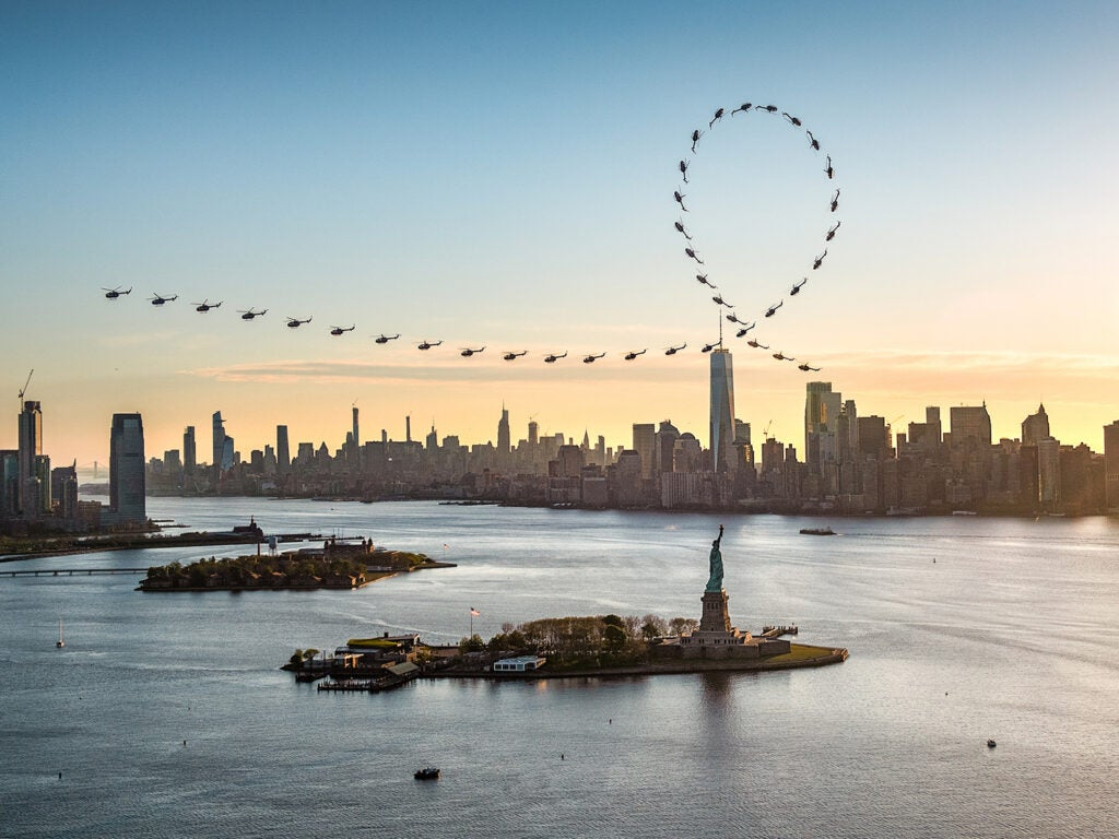 A full sequence of Aaron Fitzgerald's flight path over New York City