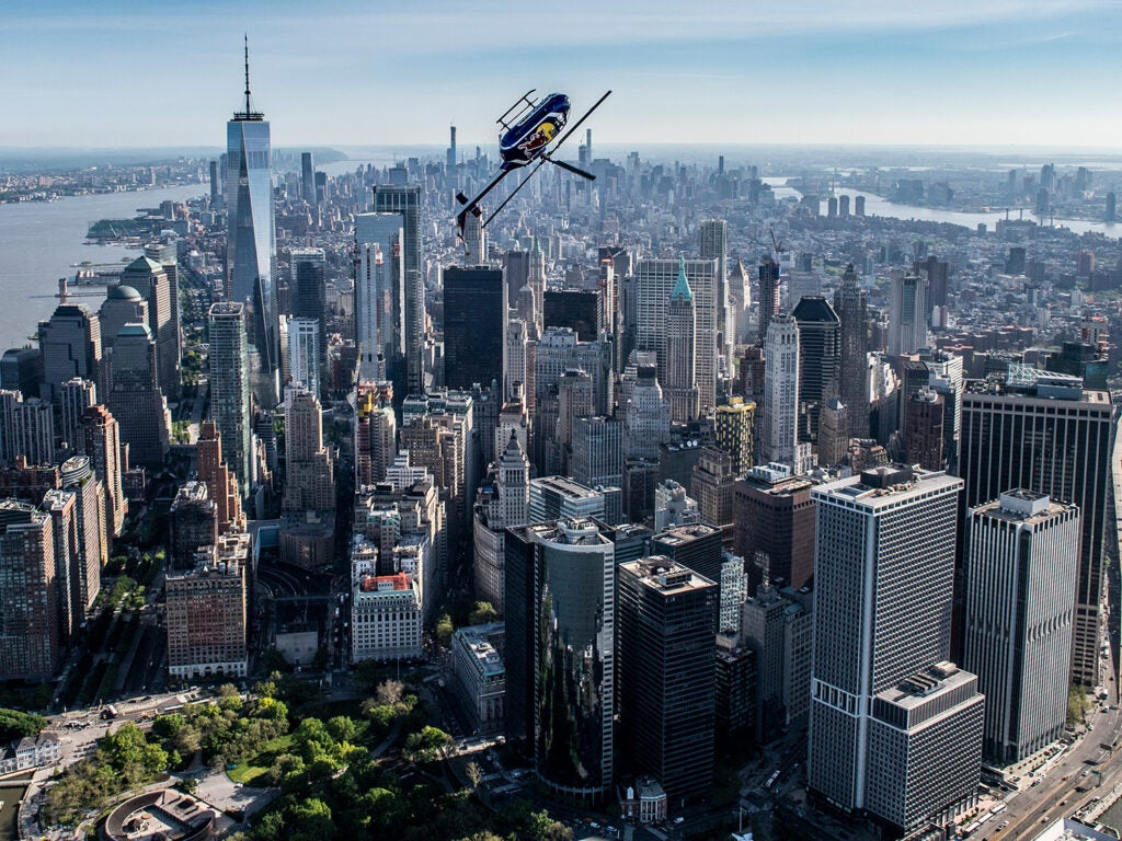 Redbull helicopter performing stunts over New York City