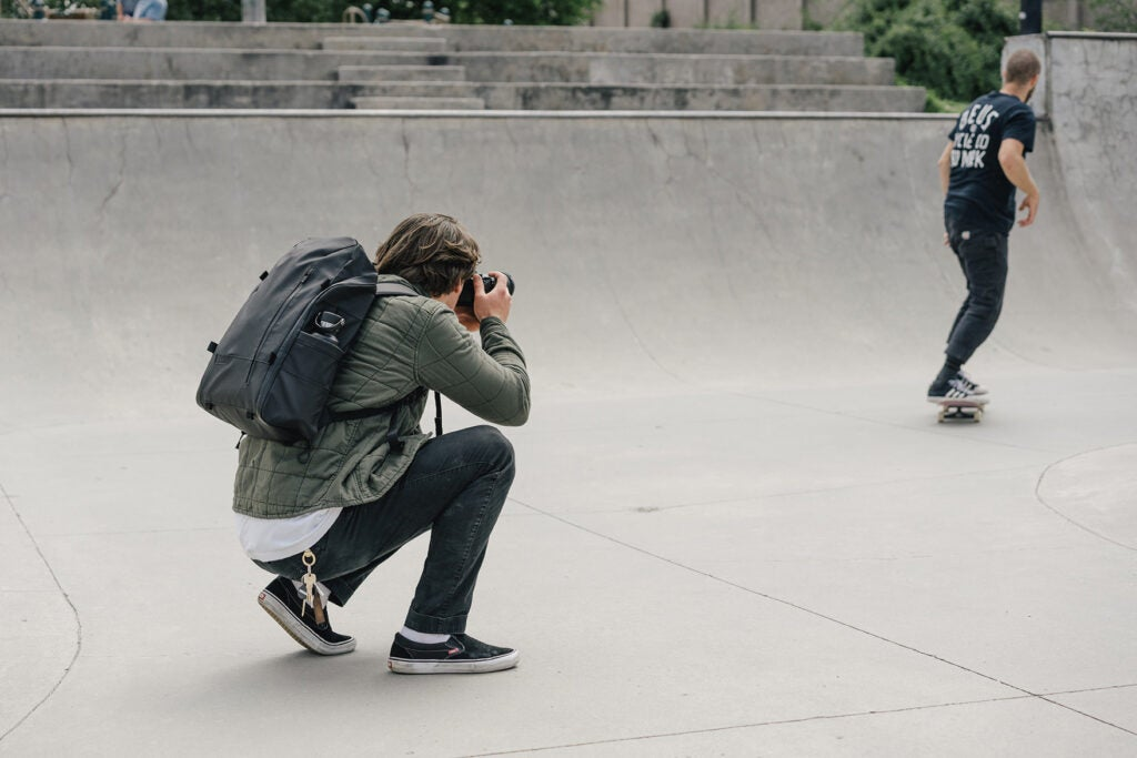 WANDRD backpack at the skate park