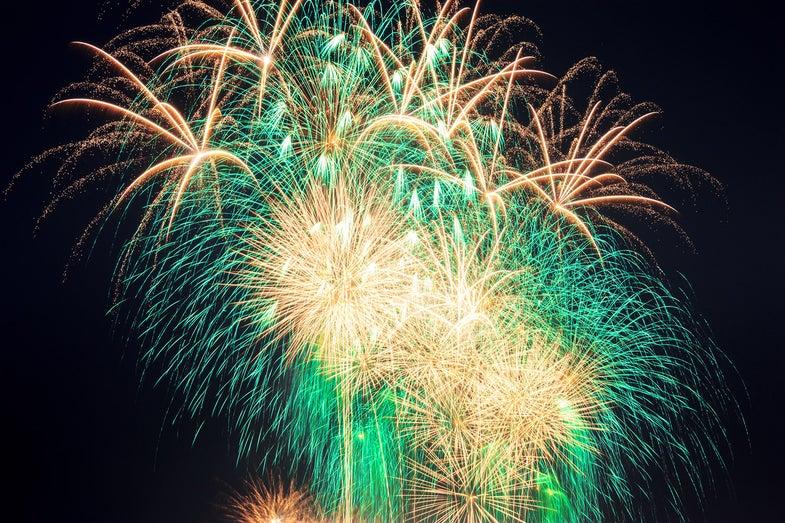 multiple exposure fireworks against black