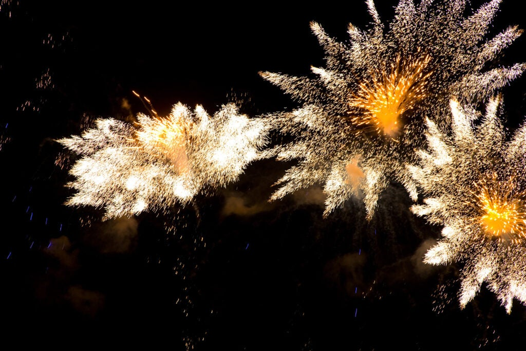 bright defocused fireworks