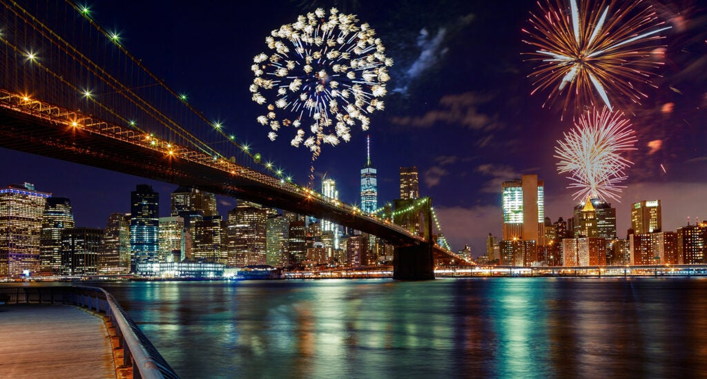 Fireworks over manhattan
