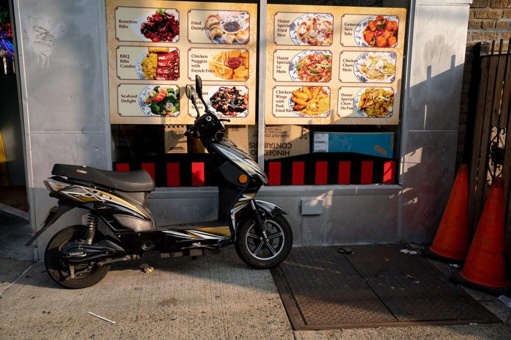 moped outside drive thru