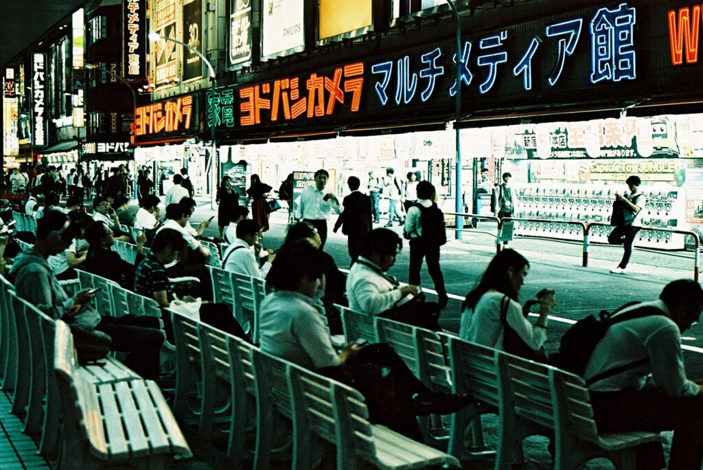 metropolis people on benches