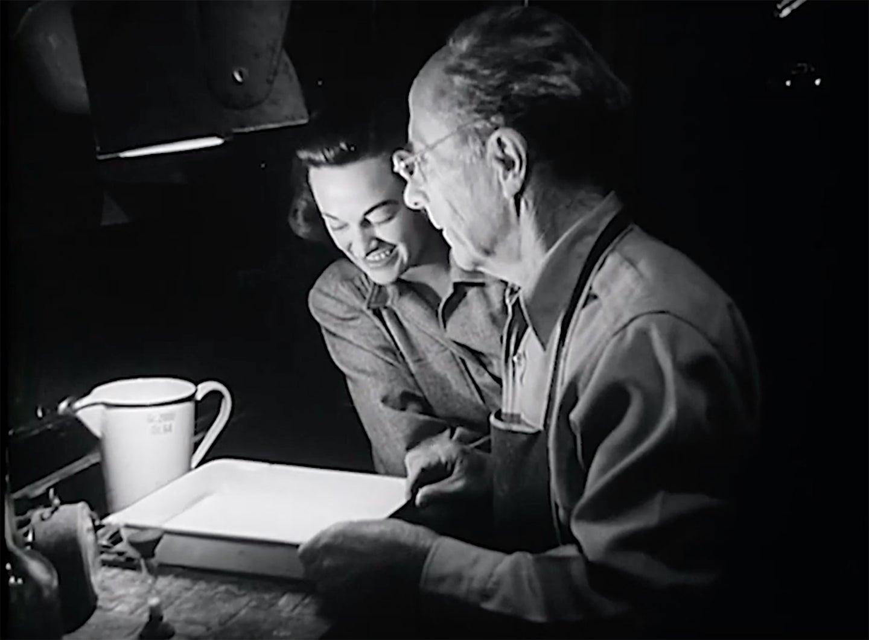 Edward Weston in the darkroom
