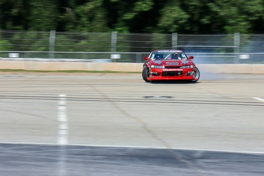 racecar drifting on track