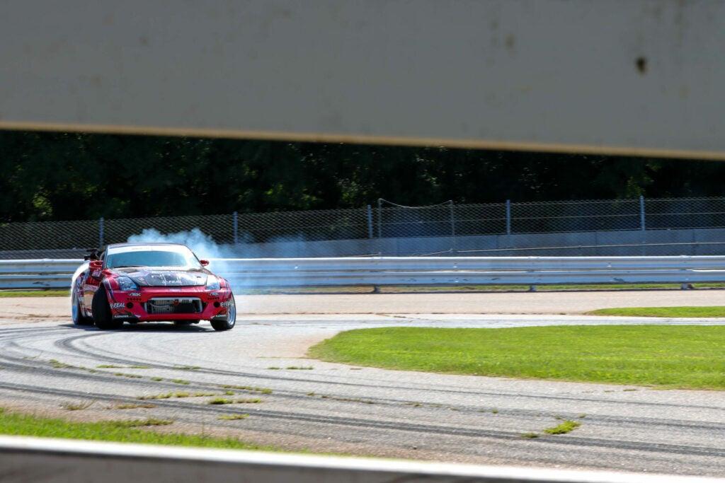 Racecar drifting on track