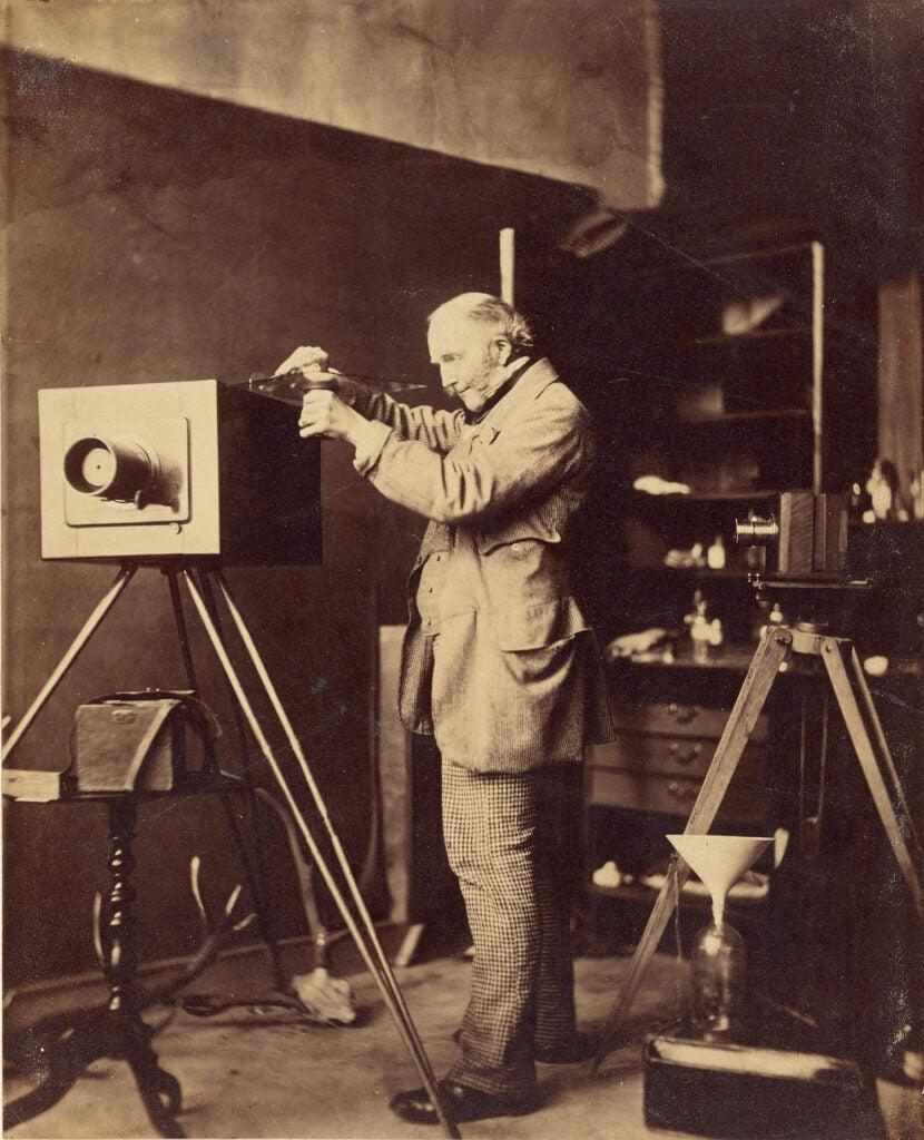 self-portrait preparing a collodian plate