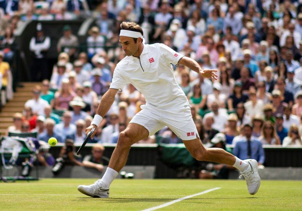 Roger Federer during his Men's Singles final, Wimbledon Tennis Championships