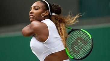 Serena Williams swinging at Wimbledon Tennis Championships