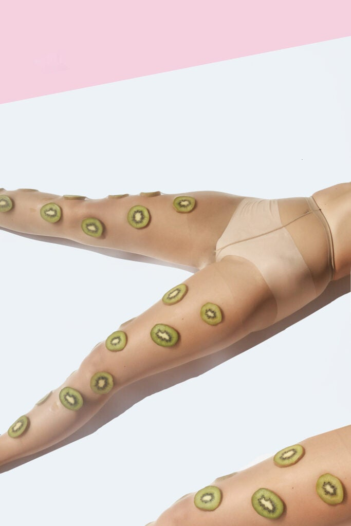 kiwi on girls legs under sheer tights