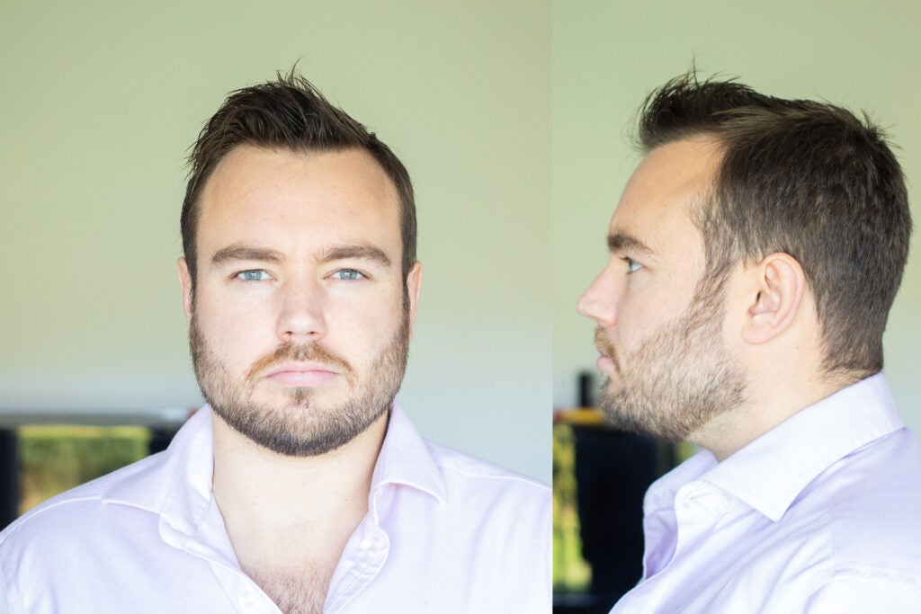 composition of frontal portrait of a man and lateral portrait of a man