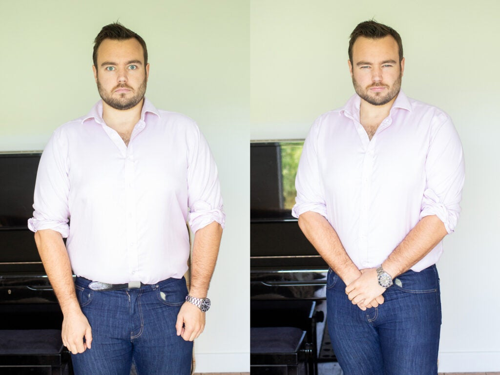composition of two full body portraits of a man