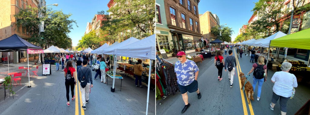 Wide and super-wide shots of a farmer's market