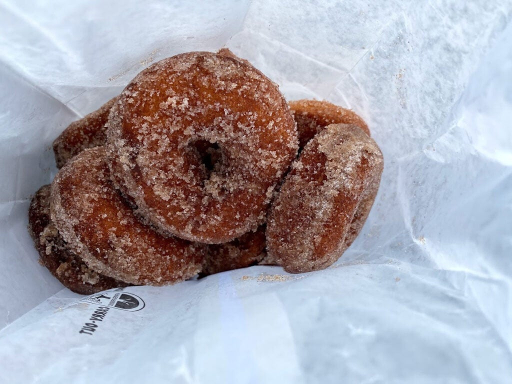 Apple-cider donuts in a bag
