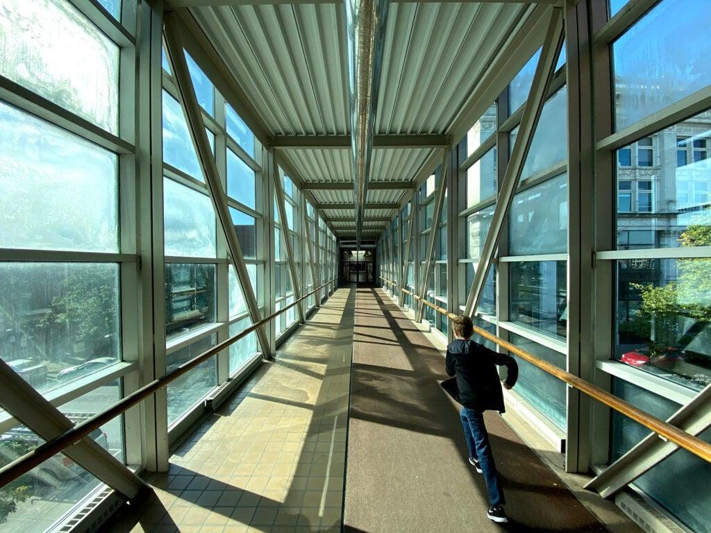 A glass hallway