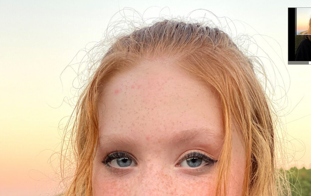 Closeup of a girl's frizzy head