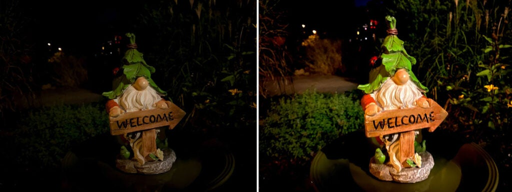 A garden gnome without and with Night Mode