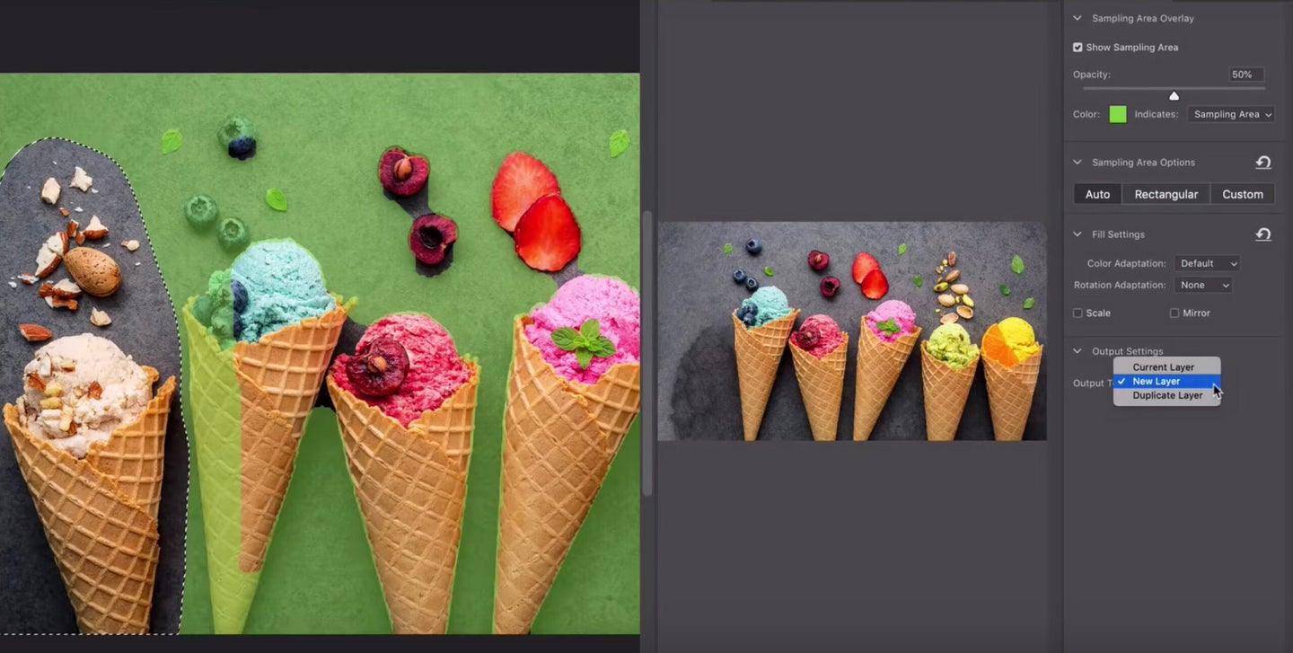Photoshop content-aware fill tool
