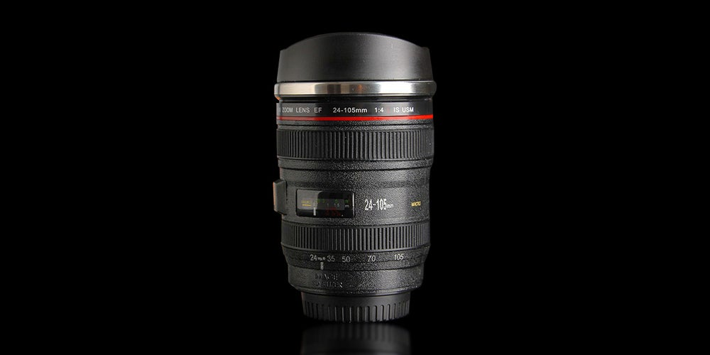 Gift (or prank) your coffee-loving friends with this self-stirring camera lens mug