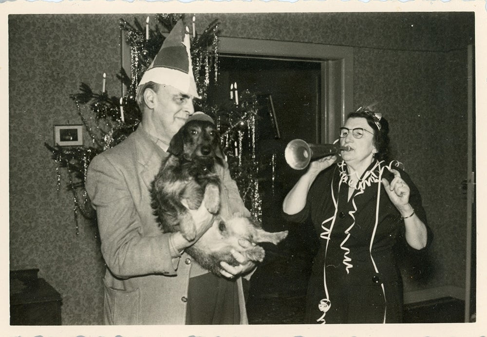Christmas party with dog