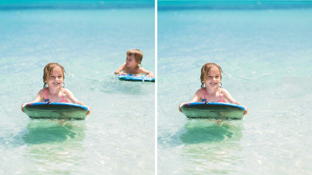 boy on surfboard removed from photo