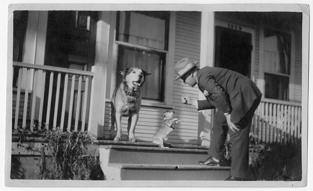 man and two dogs on the porch