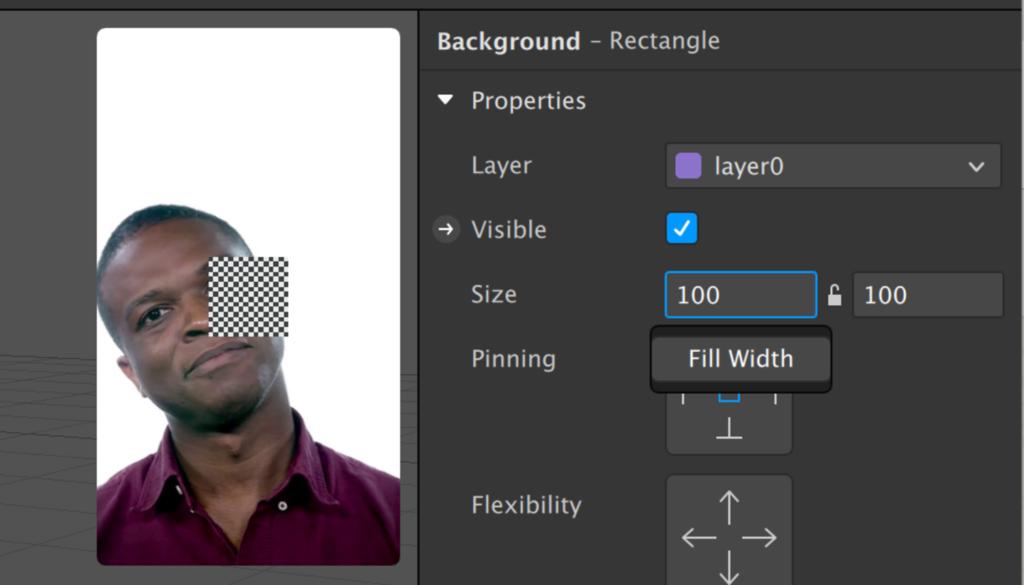 screenshot of spark ar showing rectangular elements