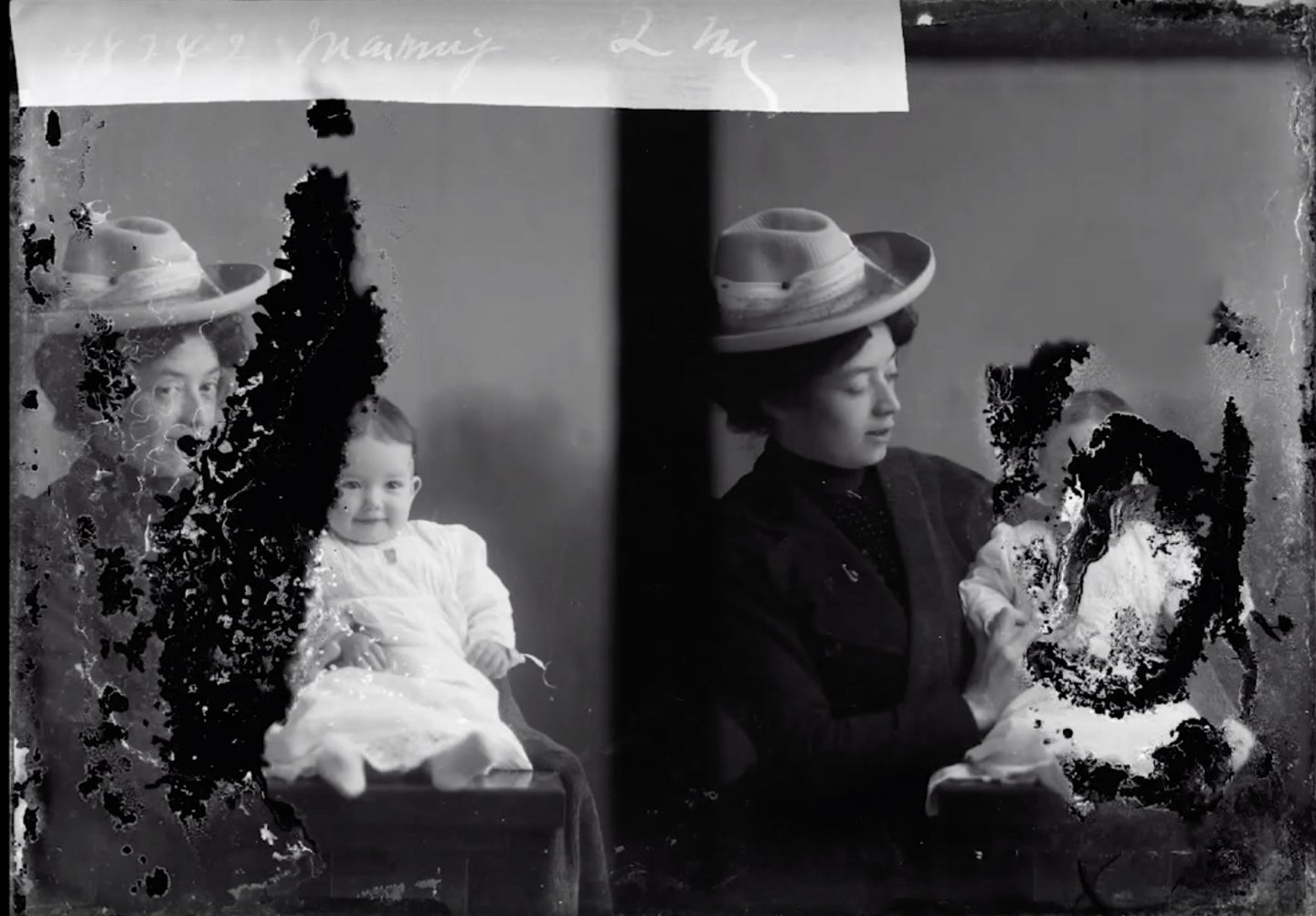 damaged photograph of mother and daughter from 1903