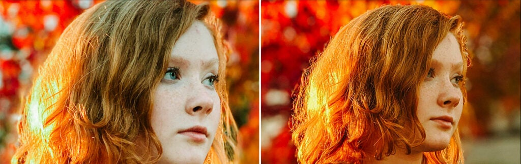 The close-up crop of portrait mode