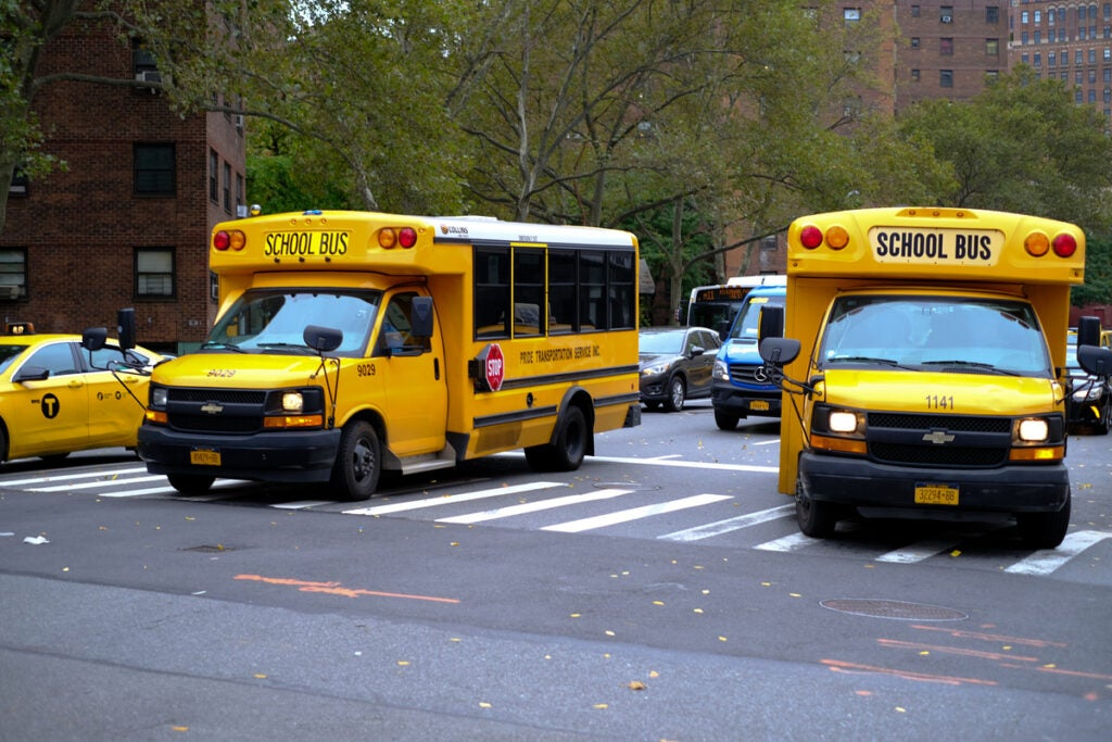 bright yellow schoolbuses
