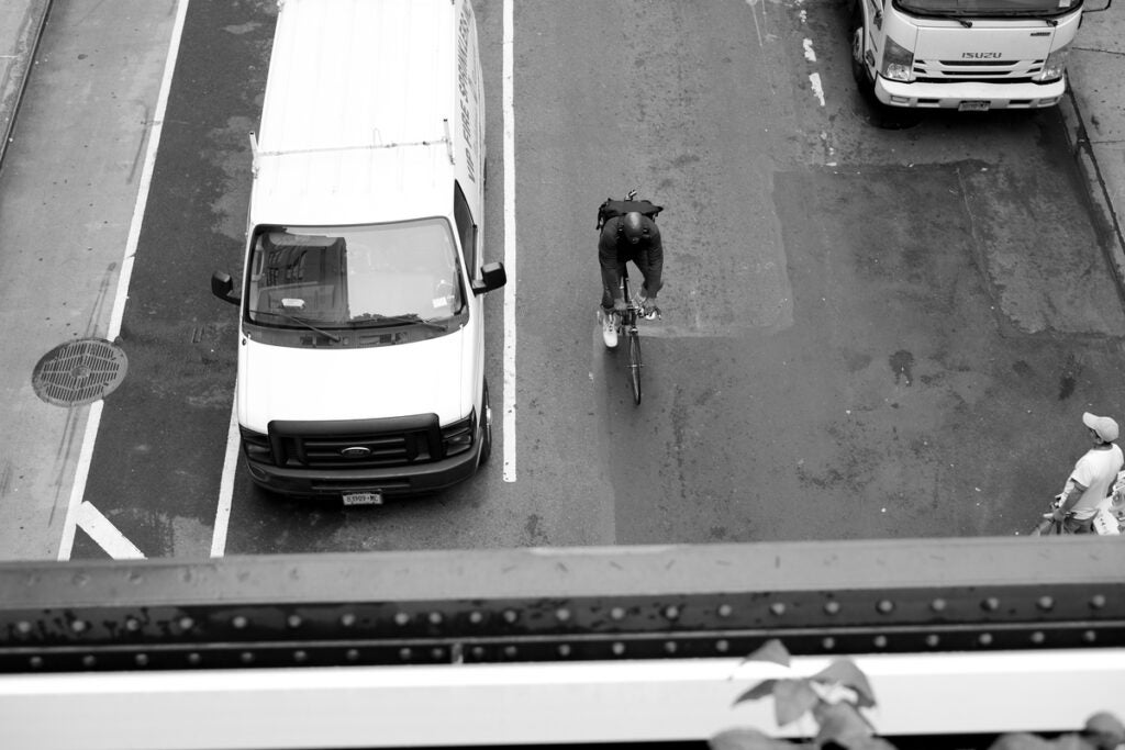 bicyclist in traffic