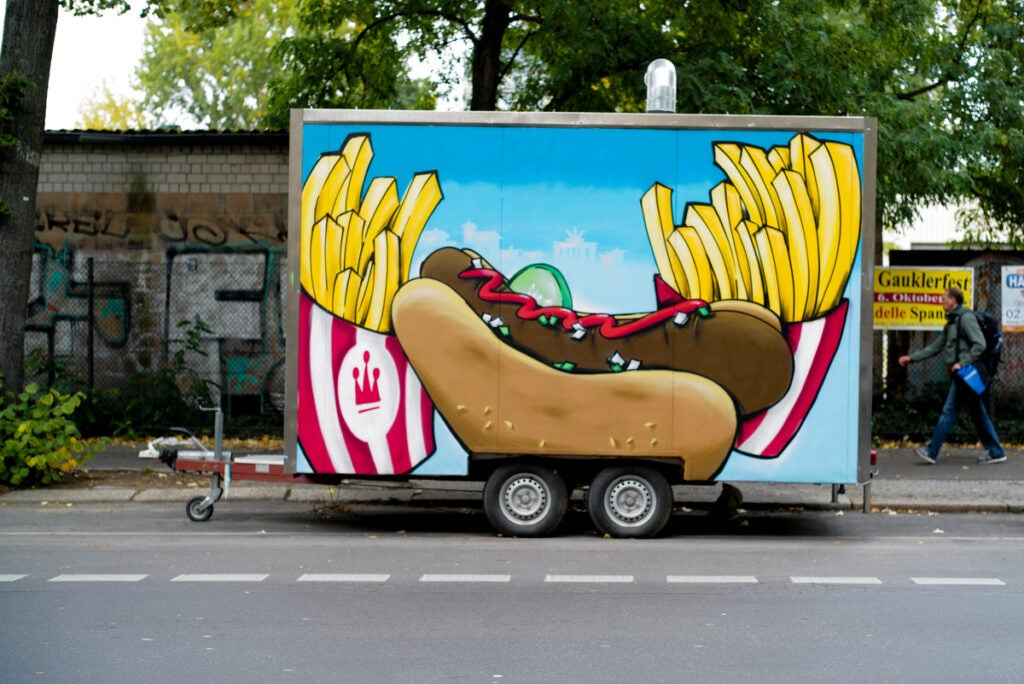food trunk painted with sausage and fries