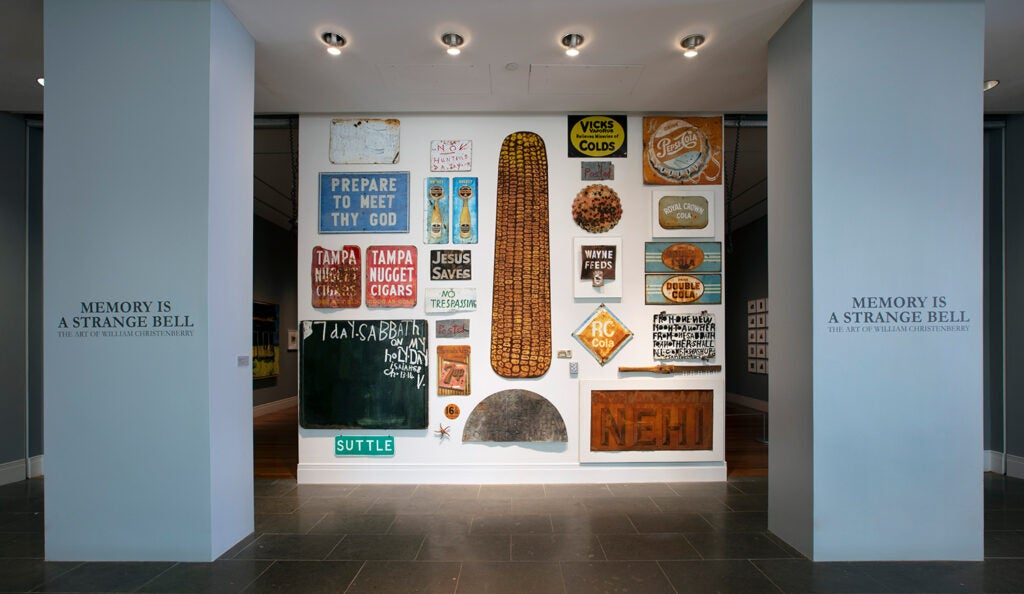 Install view of Memory Is a Strange Bell: The Art of William Christenberry