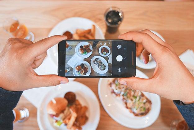phone taking photos of food