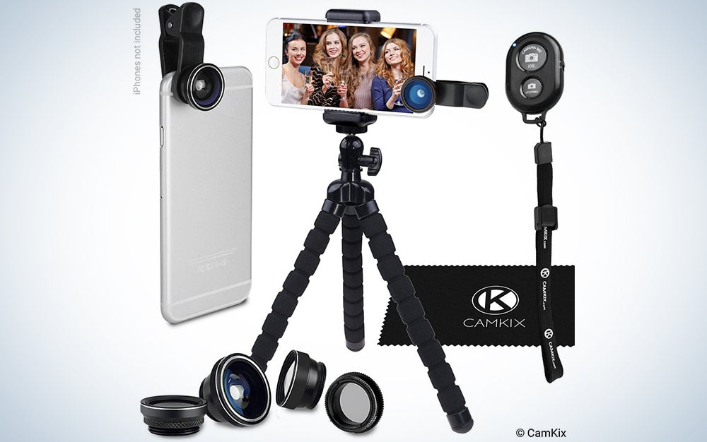 Smartphone Photography Kit - Flexible Cell Phone Tripod, Bluetooth Remote Control Camera Shutter and 5in1 Lens Kit