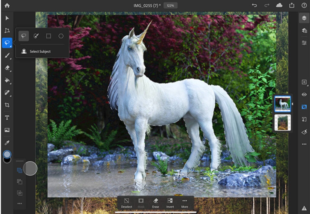 Adobe Sensei AI powered Select Subject Unicorn Example