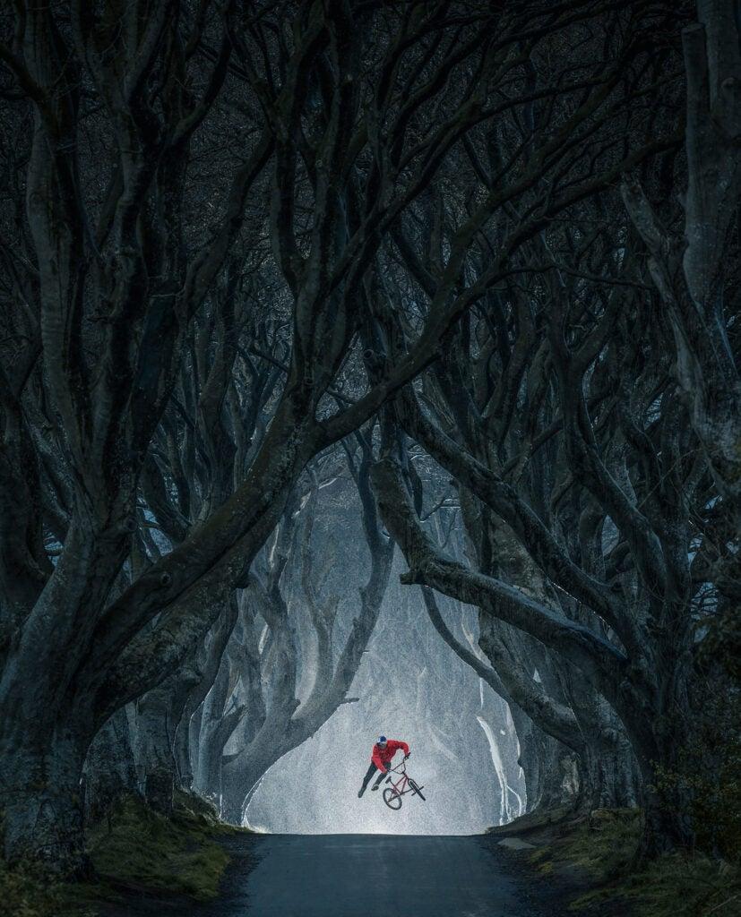 Senad Grosic jumping his bike in the Dark Hedges, Northern Ireland