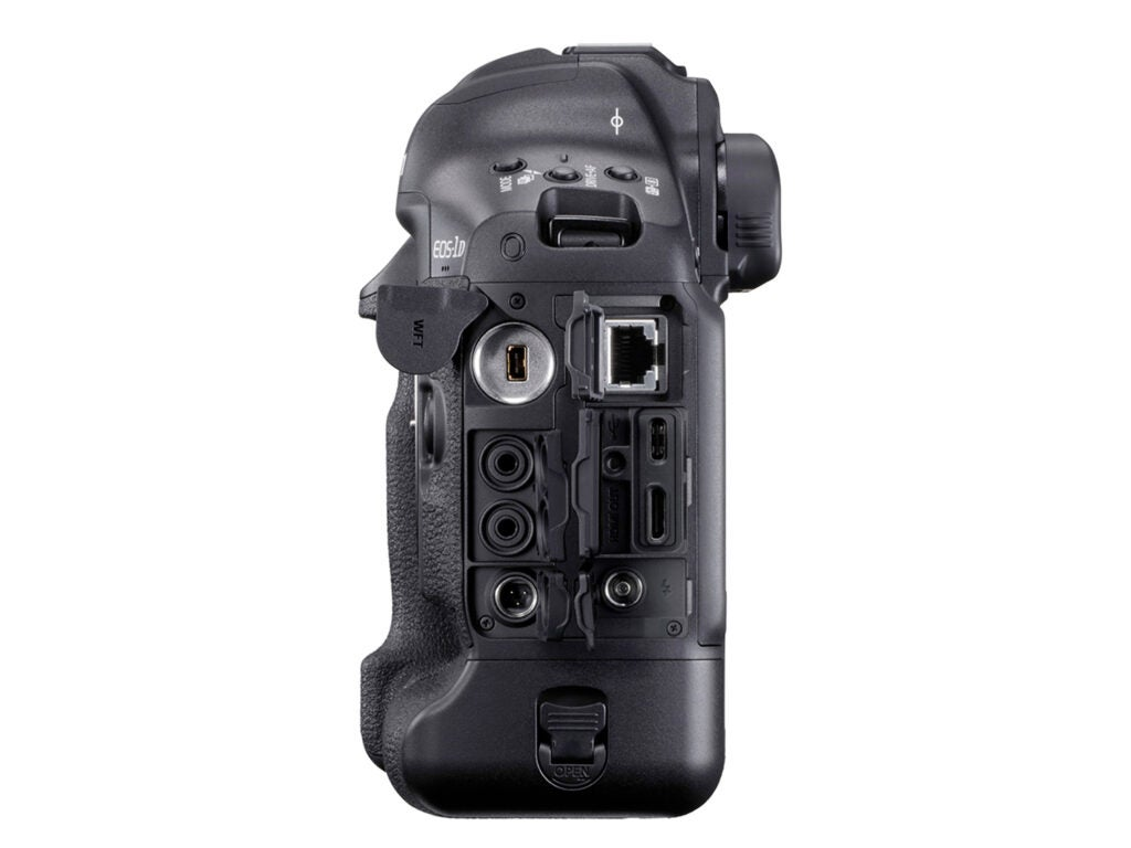 Side view of the EOS-1D X Mark III and its terminal ports.