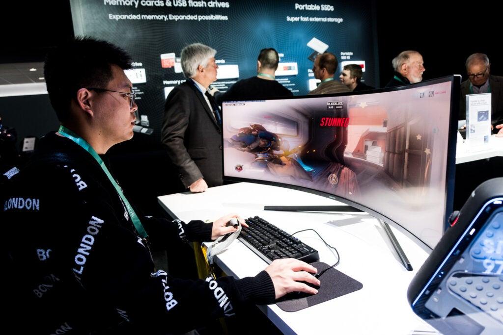 Samsung curved gaming monitor.