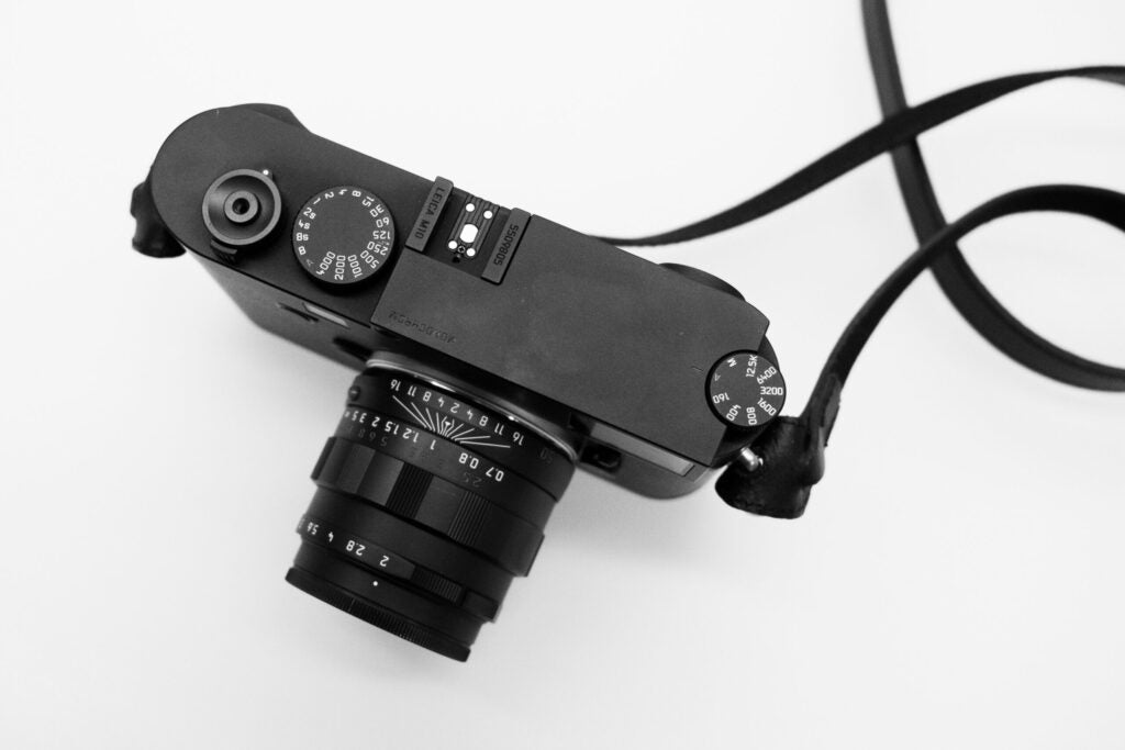 Top view of the Leica M10 Monochrom.