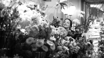 Woman in a florist shop