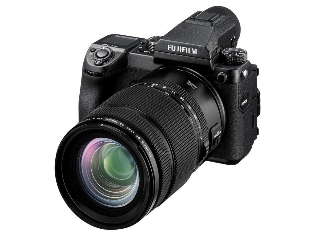 Fujifilm GF45-100mmF4 R LM OIS WR lens on camera