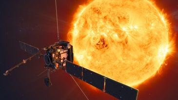 solar orbiter illustration in front of the sun